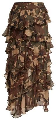 Preen by Thornton Bregazzi Melena Camouflage-print Ruffle Skirt - Womens - Multi