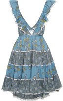 Zimmermann Caravan Ruffled Floral-print Cotton Mini Dress - Light blue