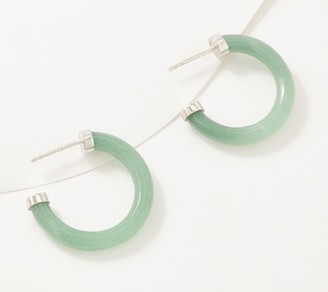 Generation Gems Sterling Silver 1-inch Gemstone Hoop Earrings