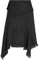Isabel Marant Idini Asymmetric Fringed Bouclé-tweed Wrap Skirt - Black