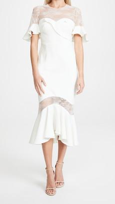 Marchesa Crepe Lace Flutter Sleeve Midi Dress