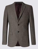 Marks And Spencer Single Breasted 2 Button Puppy Tooth Jacket With Wool