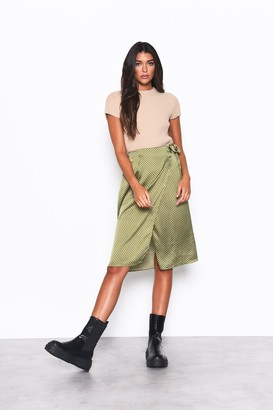 Glamorous Womens **Olive Dot Wrap Midi Skirt By Olive