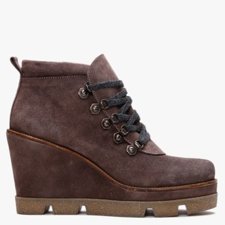 Pedro Miralles Samana Brown Suede Wedge Ankle Boots