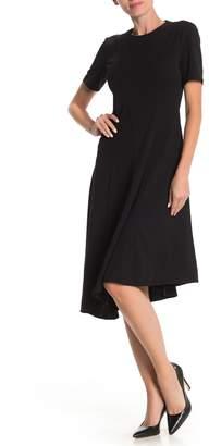 Donna Morgan Short Sleeve Asymmetrical Fit & Flare Dress