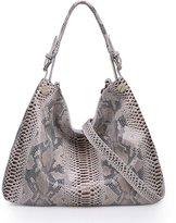 Kattee Women's Snake Print Embossed Genuine Leather Tote Shoulder Bag