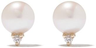 Mizuki 14kt gold Sea of Beauty diamond pearl stud earrings