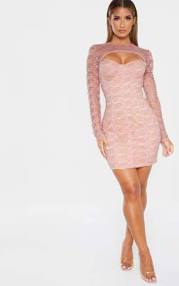 PrettyLittleThing Dusty Rose Lace Cut Out Cup Detail Binding Bodycon Dress