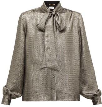 Saint Laurent Pussybow Silk-blend Lame Blouse - Womens - Silver