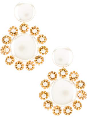 Lele Sadoughi Round Plumeria Trim Earrings
