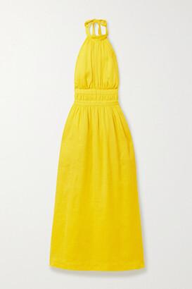 Zimmermann Shelly Linen Halterneck Midi Dress - Chartreuse