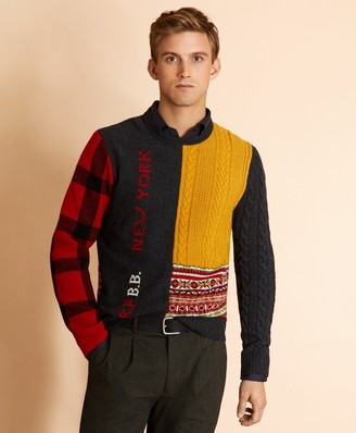 Brooks Brothers Patchwork Wool-Blend Crewneck Sweater