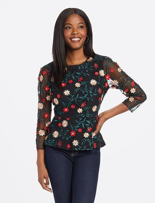 Draper James Collection Embroidered Peplum Tulle Top