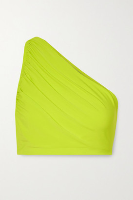 Norma Kamali Diana One-shoulder Ruched Bikini Top - Chartreuse