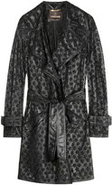 Perforated Floral Leather Trench