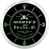 AdvPro Clock ncpi0559-g MONTE'S Golf 19th Hole Pub Bar Beer LED Neon Sign Wall Clock