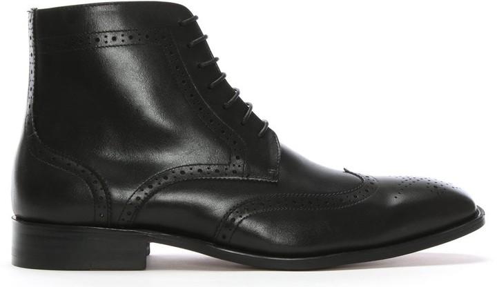 Daniel Winterborne Black Leather Brogue Ankle Boots