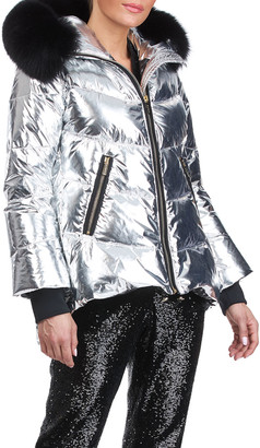 "Gorski Metallic Apres-Ski Jacket With Detachable Fox Fur Hood Trim - 29"""