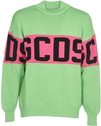 GCDS Acid Green Wool Blend Sweater With Logo