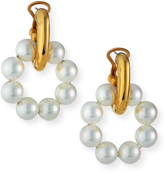 Kenneth Jay Lane Pearly Door-Knocker Earrings