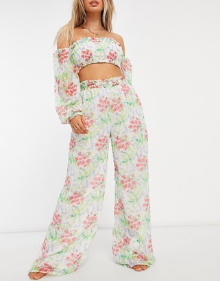 ASOS DESIGN shirred waist wide leg beach pants co-ord in floral dobby