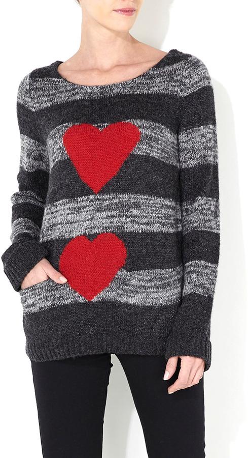 Wallis Grey Stripe And Heart Jumper