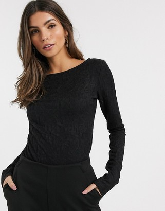 And other stories & textured low back long sleeve top in black