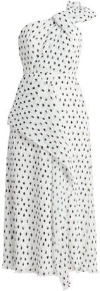 Roland Mouret Giza Pleated Painterly Polka Dot Midi Dress
