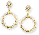 Jose & Maria Barrera Beaded Mother-of-Pearl Hoop Drop Clip-On Earrings