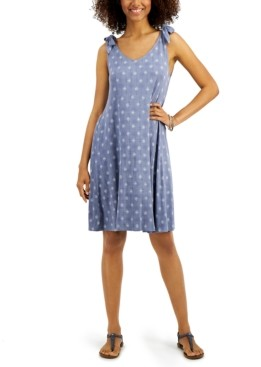 Style&Co. Style & Co Printed Tie-Sleeve Dress, Created for Macy's