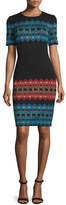 St. John Metallic Jacquard Short-Sleeve Dress, Caviar/Multi