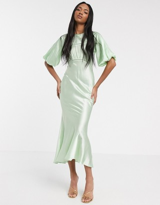 ASOS DESIGN satin midi tea dress with lace inserts in green