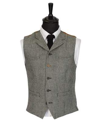 Gibson London Prince Of Wales Check Waistcoat Colour: BLACK, Size: 36
