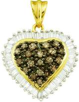 DazzlingRock Collection 1.00 Carat (ctw) 10k Yellow Gold Round & Baguette Cut & White Diamond Ladies Heart Pendant