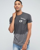 Pull&Bear Ombre T-Shirt In Dark Gray With Badge Detail