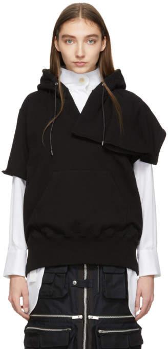 Sacai Black Short Sleeve Hoodie