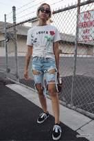 Forever 21 Destroyed Bermuda Denim Shorts