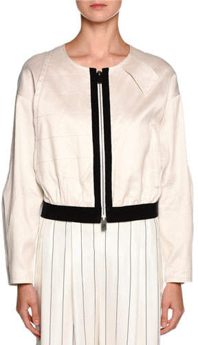 Giorgio Armani Contrast-Trim Zip Bomber Jacket, Off White