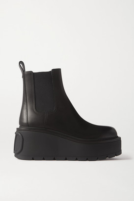 Valentino Garavani 55 Leather Platform Chelsea Boots - Black