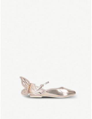 Sophia Webster Chiara butterfly-embroidered metallic leather ballet flats 5-8 years