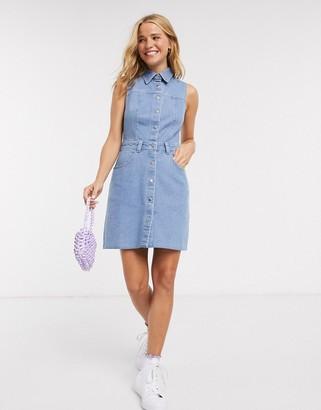 Miss Selfridge sleeveless denim dress in mid wash