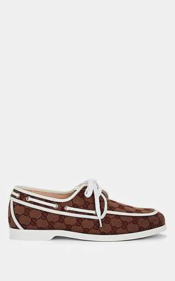 "Gucci Men's ""Vintage"" Canvas Boat Shoes - Red"