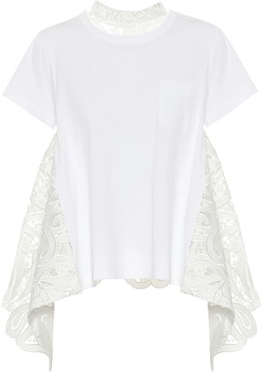Sacai Lace-trimmed cotton T-shirt
