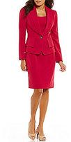 Albert Nipon Stretch Crepe Peplum Dress Suit