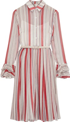 Mikael Aghal Belted Pleated Striped Georgette Dress