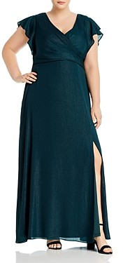 Adrianna Papell Plus Metallic Chiffon Dress