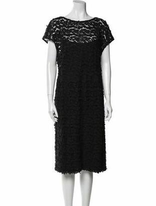 Akris Bateau Neckline Midi Length Dress Black