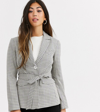 Miss Selfridge Petite blazer with belt in check