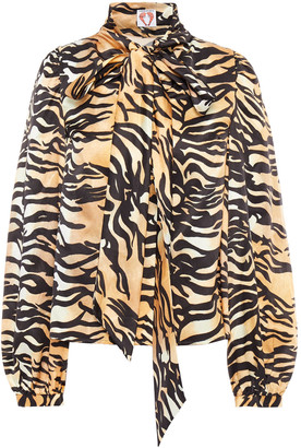 Shrimps Helen Pussy-bow Tiger-print Silk And Cotton-blend Satin Blouse