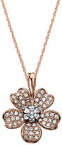 Lord & Taylor 14Kt. Rose Gold and Diamond Flower Pendant Necklace